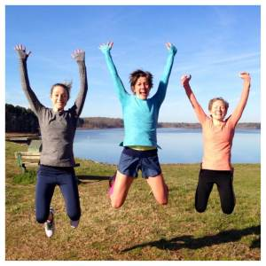 We at Oiselle Team NC have perfected the synchronized jump pic...