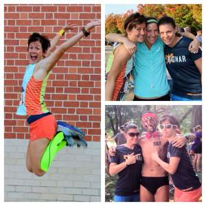Van 1 celebrates being done with hugs, jumping pics, and a rad new Speedo-wearing friend.