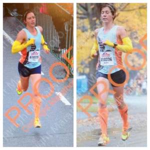 "Photographic evidence that I did in fact run the Richmond Half Marathon, and that I sometimes run with my eyes closed. I thought the word ""proof"" stamped across the pictures was a nice touch."