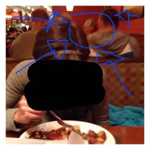 That time when Shalene Flanagan was sitting in the booth behind us at Bertucci's and we took a stalker-riffic photo. That's me, but my face has bee obscured to protect my identity and to spare you the very unflattering chewing face I'm making underneath that black blob.