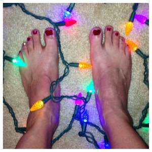 An unfortunate (but festive) non-professional pedicure. Give your runner a pedi gift certificate so their feet don't end up looking like this.