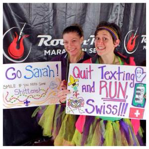 We spent hours crafting these highly supportive and inspirational signs for Sarah 'cause she's our #BFFL.