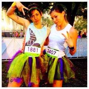 I know it's kind of hard to tell from this pic, but our tutus are really effing glittery.  So much so, in fact, that when I took my tutu and my shorts off for my post-race shower it looked like I was still wearing pants made of glitter. That's how you know if it's glittery enough.